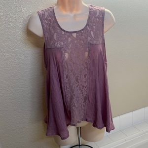 Sleeveless mauve colored top with lace detail